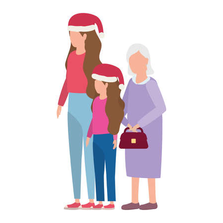 grandmother with daughter and grandaughter using christmas hat vector illustration