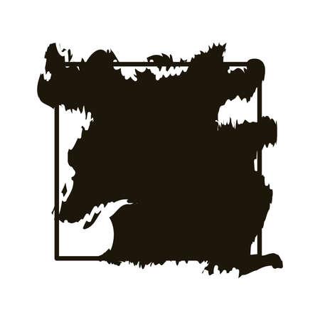 stain in square frame creative design with brush stroke silhouette style vector illustration design Ilustração Vetorial