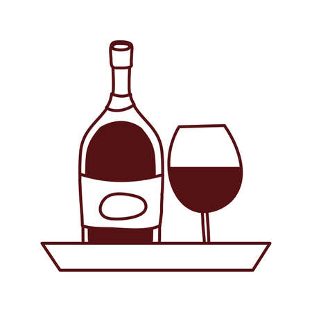 wine bottle drink with cup illustration design