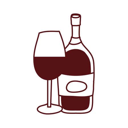 wine bottle drink with cup vector illustration design Illustration
