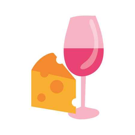 wine cup drink with cheese vector illustration design