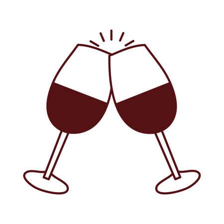 wine cups glasses toast icon vector illustration design