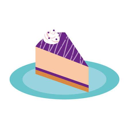 sweet cake portion dessert isolated icon vector illustration design