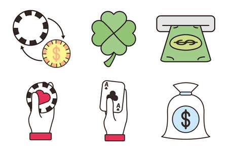 bundle of casino set icons illustration design
