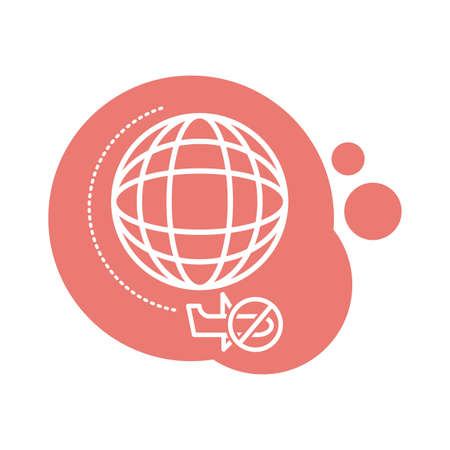 planet with denied flights block style icon vector illustration design