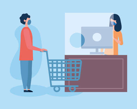boy with mask shopping cart and saleswoman with computer design of medical care and covid 19 virus theme Vector illustration