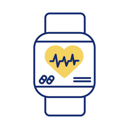 Smartwatch with heart cardio health online line style vector illustration