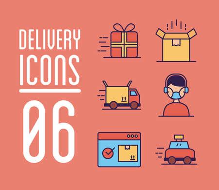 Bundle of delivery service icons vector illustration design Illustration