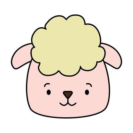 cute sheep face cartoon vector illustration design Çizim