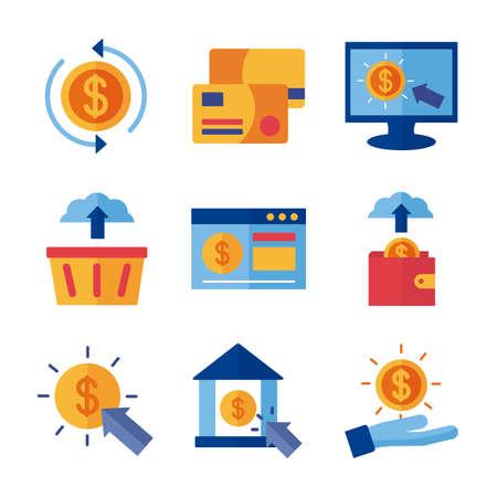 bundle of Payment online set icons vector illustration design