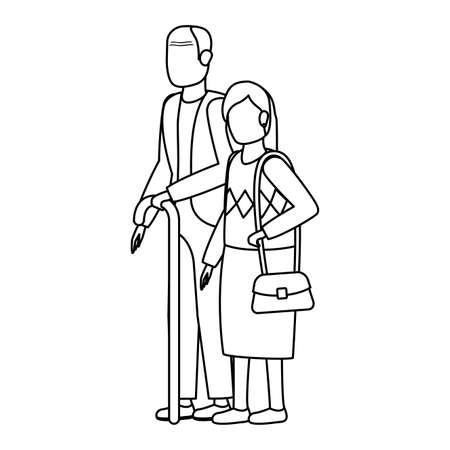 cute grand parents avatars characters vector illustration design