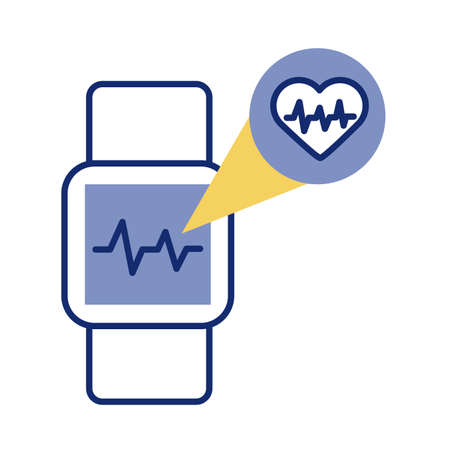 smartwatch with heart cardio health online line style illustration design