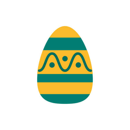 easter egg painted with waves flat s flat style vector illustration design