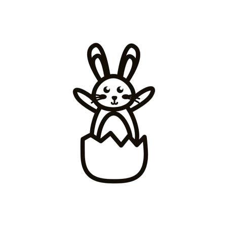 cute little rabbit in egg shell easter line icon vector illustration design
