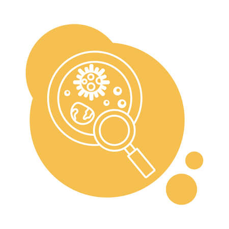 bacteria culture with magnifying glass block style icon illustration design