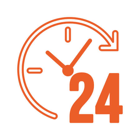 time 24 hours service icon vector illustration design
