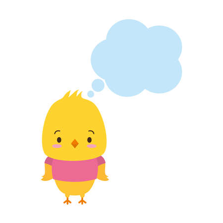 cute chicken cartoon speech bubble vector illustration design Vettoriali