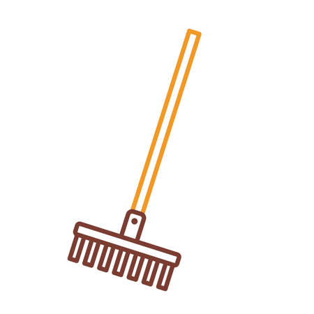 rake tool line style icon design, Gardening garden planting nature ecology outdoors and floral theme illustration