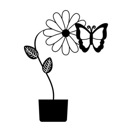 potted flower butterfly decoration vector illustration design
