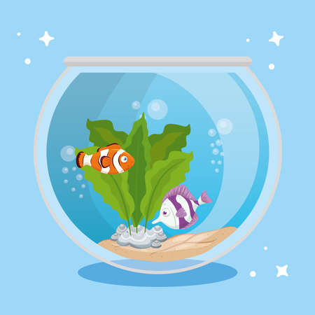 aquarium fishes with water, seaweed, aquarium marine pet vector illustration design Ilustración de vector