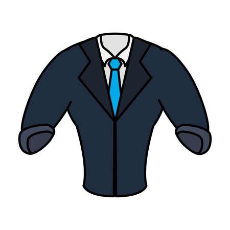 elegant shirt masculine with necktie and blazer vector illustration design
