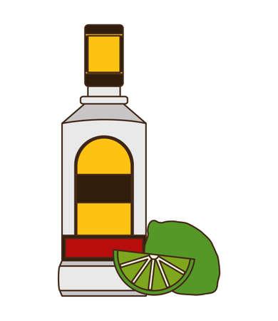 tequila bottle and lemon sliced vector illustration