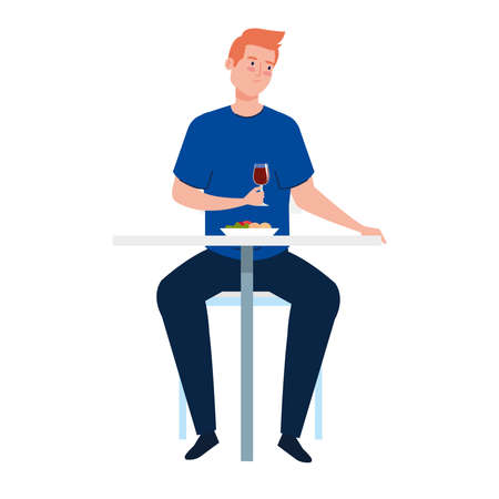 man sitting in chair, with food in table, on white background vector illustration design