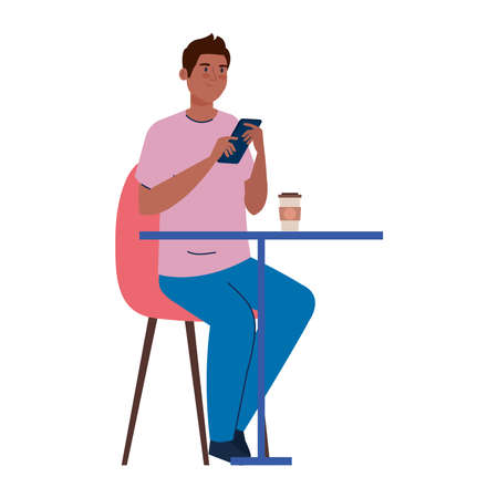 man sitting in chair, with coffee in table, on white background vector illustration design