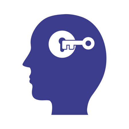 profile with key mental health silhouette style icon vector illustration design