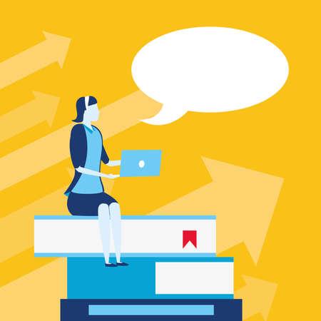 businesswoman sitting books with laptop business success vector illustration Çizim
