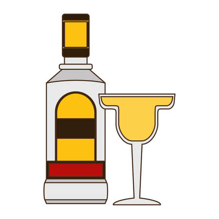 mexican bottle tequila cocktail lemon vector illustration Illustration