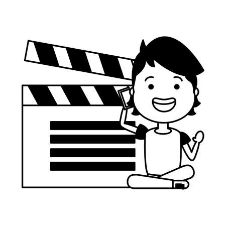 man with clapperboard avatar character vector illustration desing Stock Illustratie