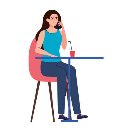 woman sitting in chair, with beverage in table, on white background vector illustration design Ilustrace