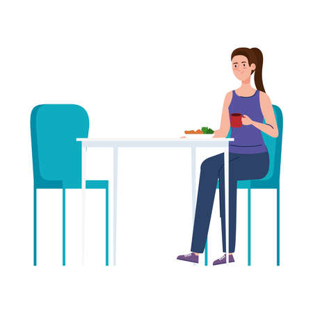 woman sitting in chair, with food in table, on white background vector illustration design Ilustrace