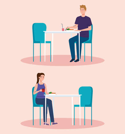 social distance in new concept restaurant , couple on tables, protection, prevention of coronavirus covid 19 vector illustration design