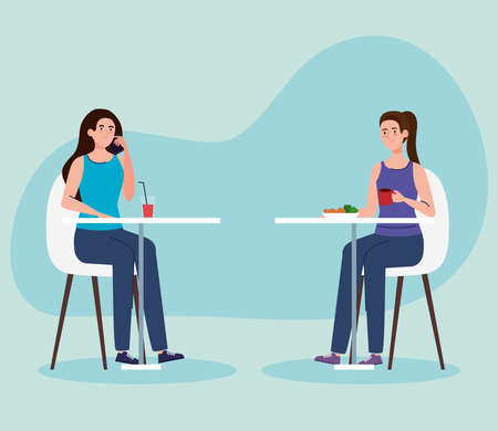 social distance in new concept restaurant , women on tables, protection, prevention of coronavirus covid 19 vector illustration design 矢量图像