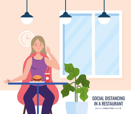 social distance in new concept restaurant , woman on table, protection, prevention of coronavirus covid 19 vector illustration design 矢量图片