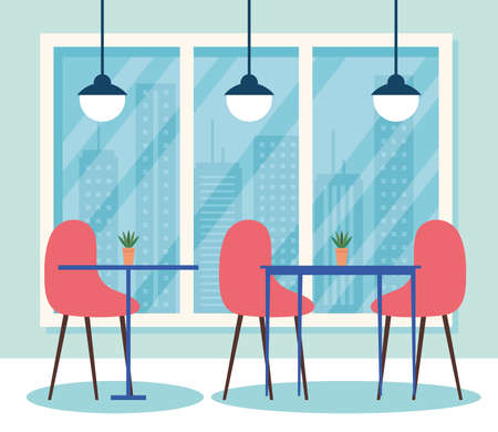 restaurant interior scene, tables with chairs furniture and lamps hanging vector illustration design
