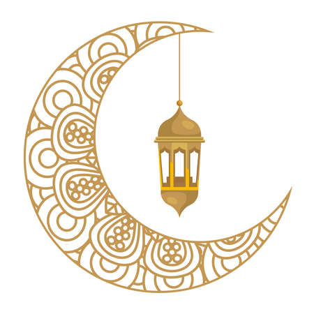 ramadan kareem lantern hanging with crescent moon golden on white background vector illustration design