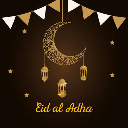 eid al adha mubarak, happy sacrifice feast, moon with lanterns and garlands hanging vector illustration design