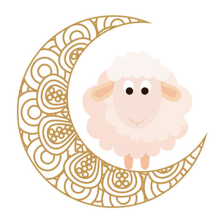 eid celebration ornament on white background, moon with sheep vector illustration design