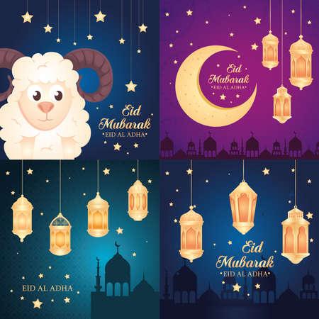 cards, eid al adha mubarak, happy sacrifice feast, with decoration vector illustration design