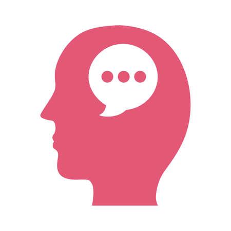 profile with speech bubble mental health silhouette style icon vector illustration design