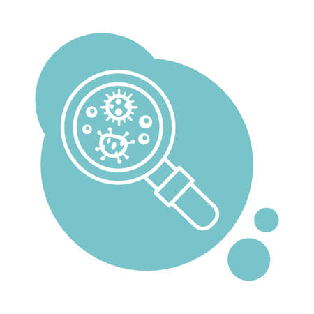 bacteria culture with magnifying glass block style icon vector illustration design