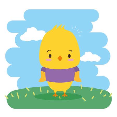 cute chicken animal cartoon vector illustration design 免版税图像 - 151287019
