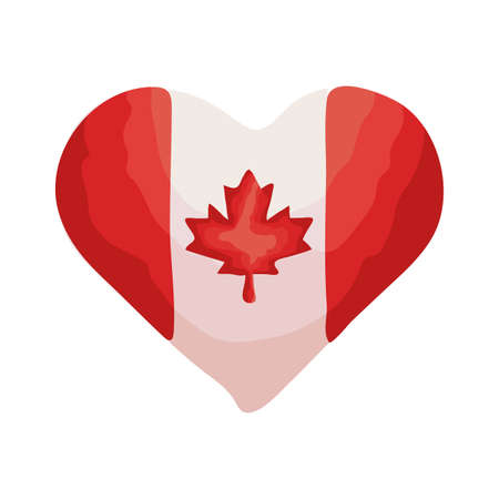 heart with canada flag flat style vector illustration design