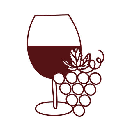 wine cup drink with grapes fruits vector illustration design Illustration