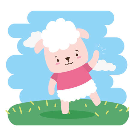 cute sheep animal cartoon vector illustration design Çizim