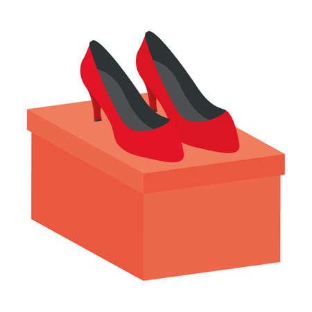 heels female shoes footwear in packing box vector illustration design Illustration