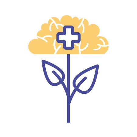 plant with brain mental health line style icon vector illustration design Illustration